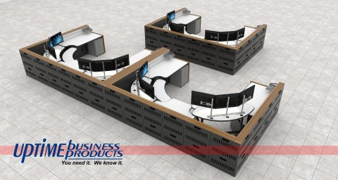 Multi Position Control Room Console Array, top view