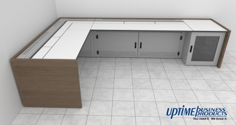 L-shaped control room console rendering - no chairs
