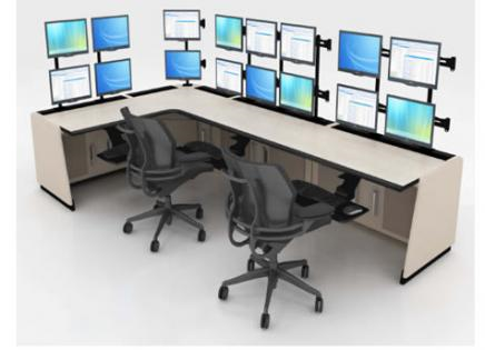 L-shaped control room console rendering